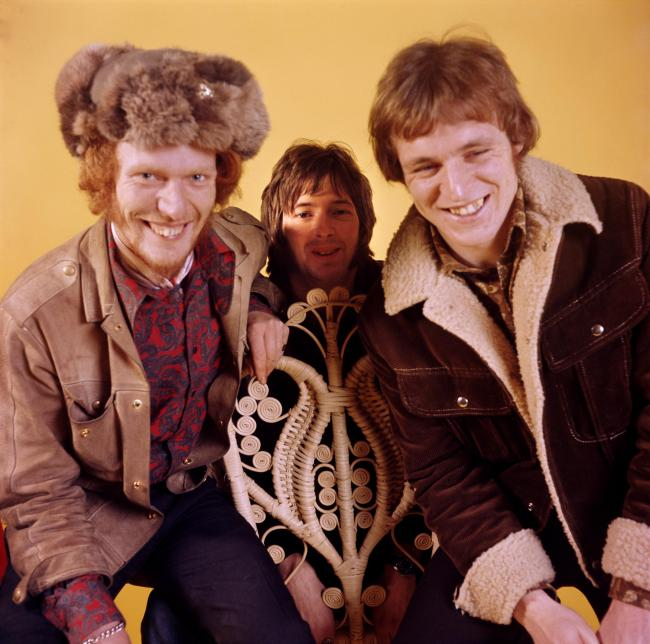 LONDON - 1st JANUARY: British rock group Cream posed at Fleet Studios in London in 1966. Left to right: drummer Ginger Baker, guitarist Eric Clapton and bassist Jack Bruce. (Photo by Mark and Colleen Hayward/Redferns).