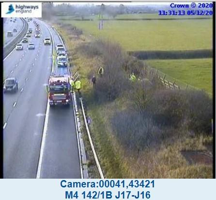 Emergency services at the scene of the M4 crash Picture: HIGHWAYS ENGLAND