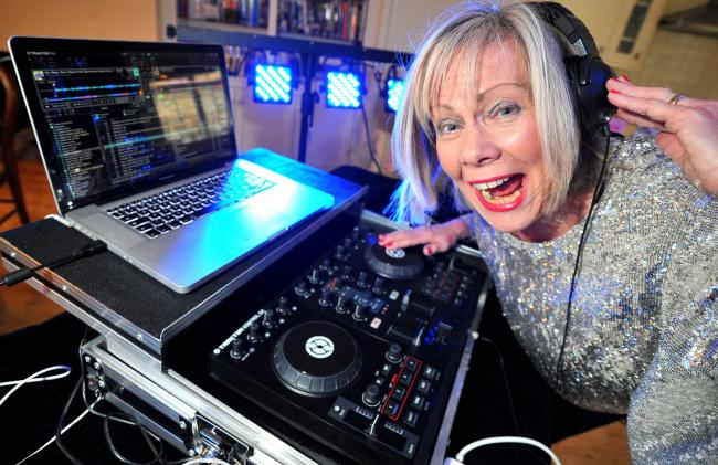 Christine Tew called Dizzy Twilight (her stage name) , is a 64-year-old DJ who loves house, RnB and dance music. Despite her advancing years, she is more at home with Radio One than Radio Four..Pic - Christine Tew.Date 2/12/15.Pic By Dave Cox.