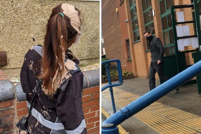 Left: an image of the plaster-struck traffic warden shared by Swindon Borough Council last year; Right: Silk outside Swindon Magistrates' Court