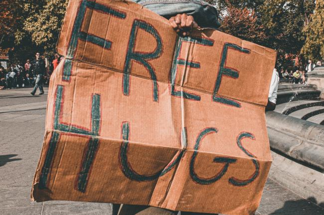 File image of Free Hugs sign Picture: PEXELS