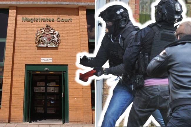 Composite image showing Swindon Magistrates' Court and, right, police execute a warrant earlier this week Pictures: ADVER