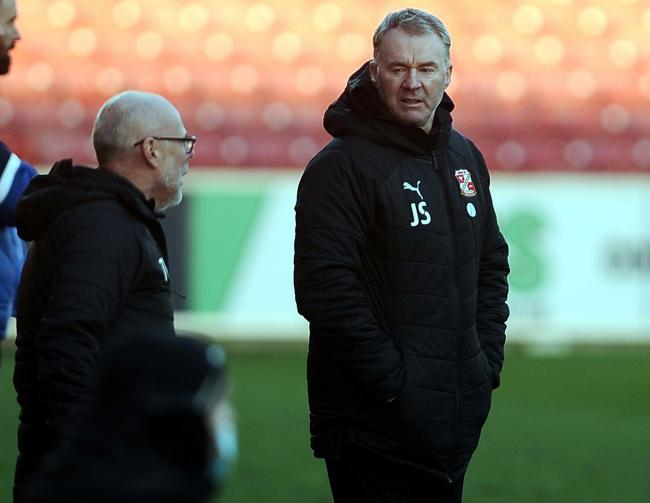 Pic Dave Evans             06/02/2021.Swindon manager John Sheridan and coach Tommy Wright.