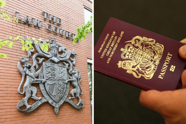 Composite image showing Swindon Crown Court and, right, a UK passport Pictures: ADVER/PA - false ID documents