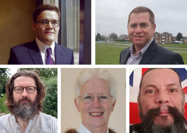Clockwise from top left: Joseph Polson (Lib Dem), Carl Jones (Conservative), Andrew Osborne (Independent), Ray Ballman (Labour) and Andy Bentley (Green)