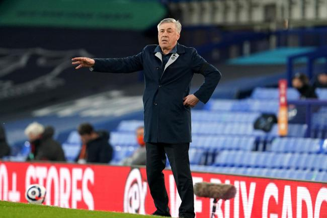 Everton manager Carlo Ancelotti gestures on the touchline