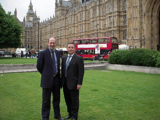 South Swindon MP Robert Buckland, right with his North Swindon colleague Justin Tomlinson, outside Parliment