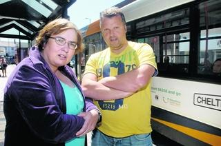 Bus passengers Andrea Lane and Ian Tanner