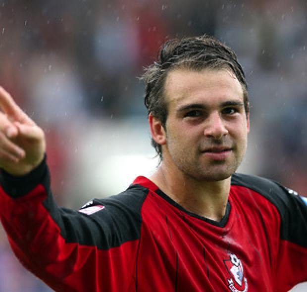 DELIGHT: Brett Pitman celebrates on Saturday