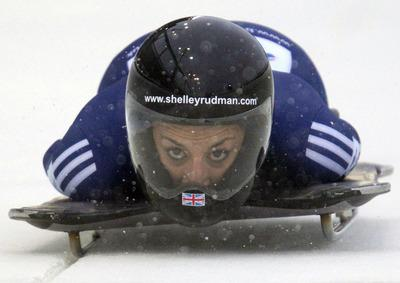 Swindon Advertiser: Shelley Rudman slides during her first run in Whistler this morning
