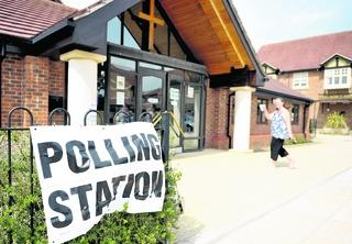 Casting a vote on Thursday at the polling station in Christ The Servant Church, in Abbey Meads
