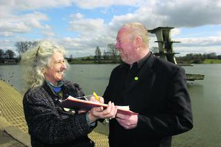Jean Saunders with Green Party leader Keith Taylor as she collected signatures for petition calling on Coate to be protected