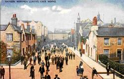 A picture of Swindon workmen leaving the Great Western Railway works which is in the exhibition The Railway Comes To Town organised as part of the Brunel 200 celebrations