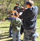 Youngsters with air rifles