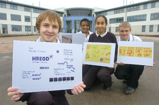 Among the pupils who helped with the design of the new school logo are, from the left: George Telling, Kiana Willis, Kiran Chotali and Tony Lambourne