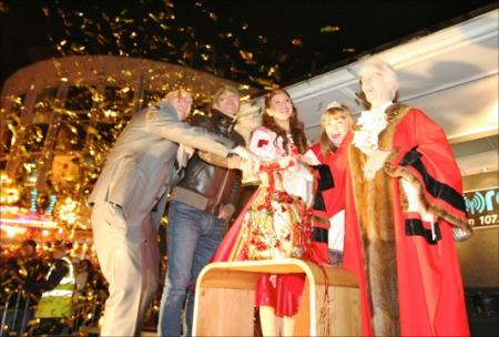 Having fun at the Big Switch-On of Christmas lights in 2011