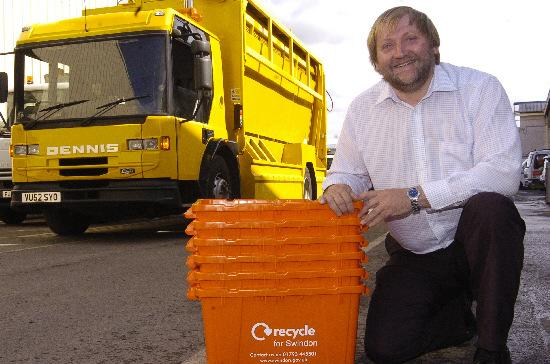 Swindon Council's George Walker with one of the collection vehicles