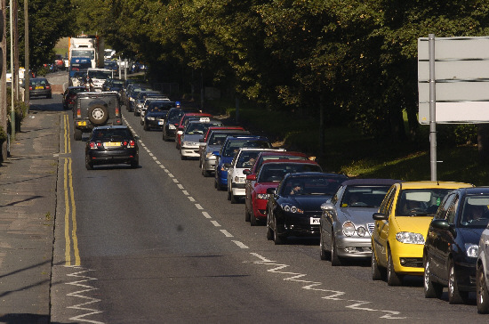 The traffic queues approaching Swindon