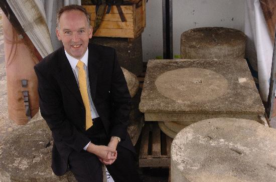 Council leader Roderick Bluh with some of the recovered stones