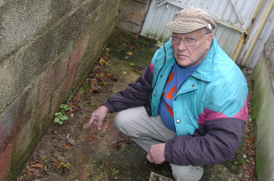 Ken Woolley at the site of the tunnel