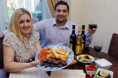 Victoria Kisioglu and husband Tarkan, of Turkish Delights Catering, with  a selection of 'mezes'									  (34126-2)