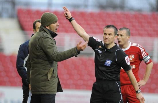 Paolo Di Canio is sent to the stands on the occasion of Macclesfield's last visit to the County Ground