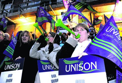 UNISON members protesting