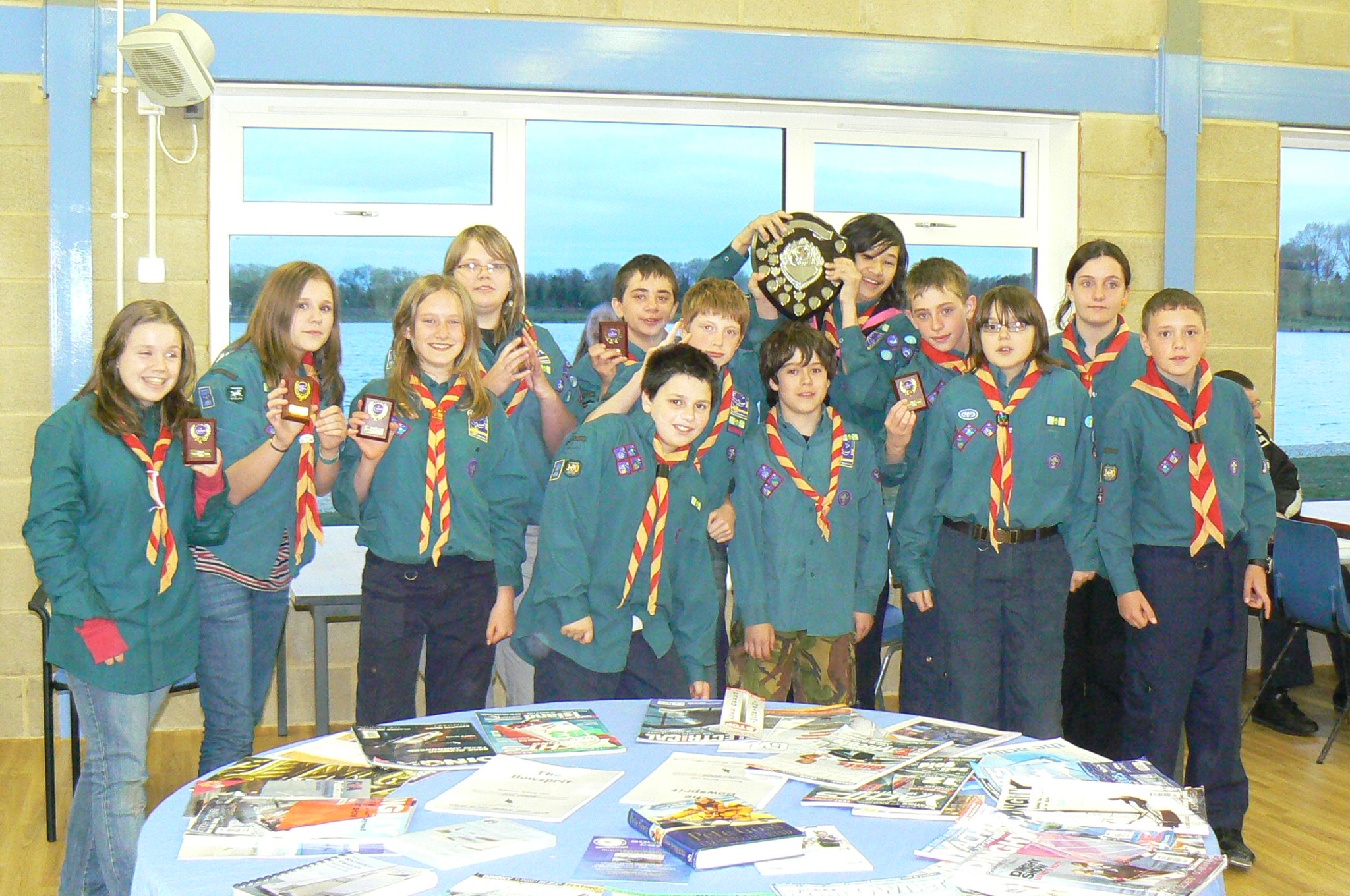 1st Stratton Scouts celebrate winning the Les Barnes Trophy