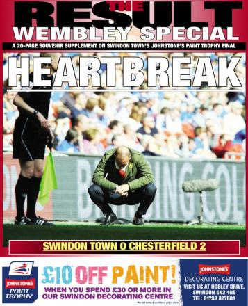 The cover of today's Wembley supplement inside the Swindon Advertiser