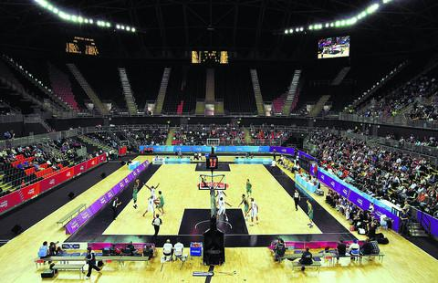 Action from the the London International Basketball Invitational test event at the Basketball Arena in the Olympic Stadium