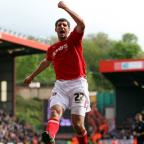 Danny Hollands celebrates after his goal. PICTURES BY EDMUND BOYDEN.
