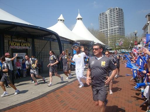 Torch photo in Swindon with Tented Market & David Murray John Tower, blue skies, sunshine & Drogba!