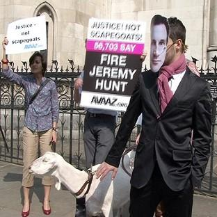 Protesters campaign outside the Royal Courts of Justice in London during the Leveson Inquiry