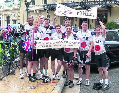 Max, fourth from left, and friends who completed the 900-mile bike ride from London to Monte Carlo in aid of Cancer Research