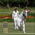 Lechlade bowler Paul Godding in action