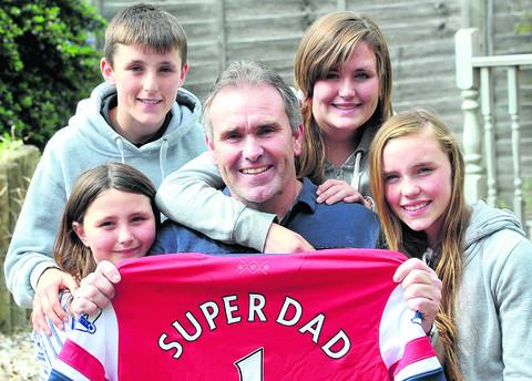 Jason O'Donoghue, with  his children from left, Paris, Kieran, Courtney and Jordan