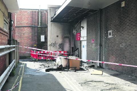 The fire damage in John Street