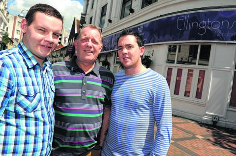 Craig Knight, manager Geoff Lee and Iain Harling outside Ellington's in the town centre, which is shutting down