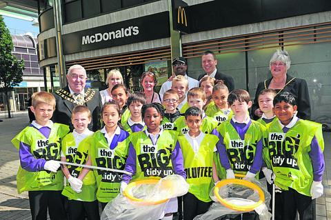 Mayor and mayoress Mick and Ruth Bray with the litter pickers at McDonald's in Wharf Green