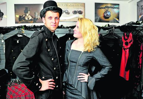 Matthew Edwards and Kate Lister try some clothing on for size