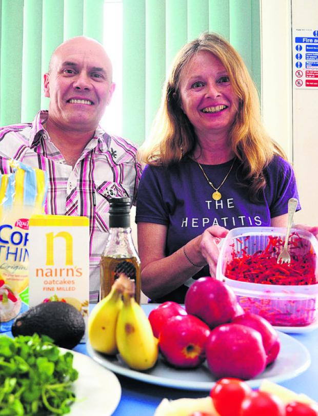 Phil Spalding and Catherine Corr at the Hep C group healthy living day