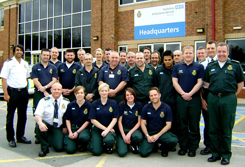Members of the Yorkshire Ambulance Service who are heading to London to provide assistance at the Olympic Games