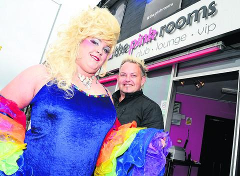 Daniel Jefferies, aka Miss Malbooby, and Pink Rooms owner Matthew Hearn outside the club getting ready for the festivities