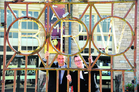 Simon Kirk, David Wilson Homes' technical director and Steam's commercial manager Ian Surtees, with the gates