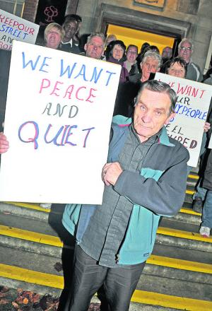 Protesters against plans for a late night pharmacy in Gorse Hill met outside of the Civic Offices in November. Centre front is Gerry Przybyszewski