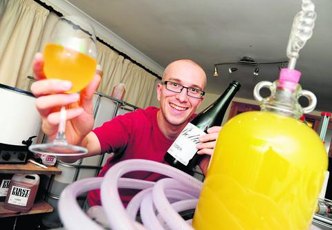 Nick Howard is making his own cider in a back room of his home in Pinehurst