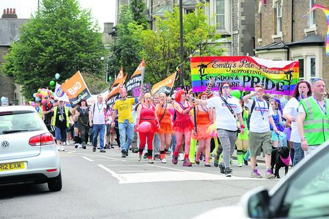 The fifth Swindon Pride parade in the town on Saturday