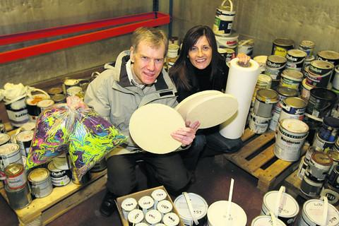 Project manager Olivia McCann and trustee David Rewcastle at the Scrapstore building, off Westmead Drive