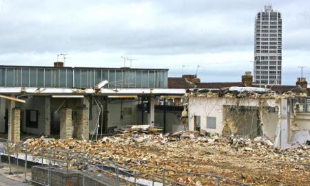 End of an era as former college building is bulldozed to the ground
