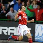 Tommy Miller celebrates his goal against Crawley